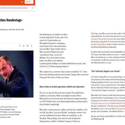 Merz spricht in Verden über Kandidatur für den Bundestag