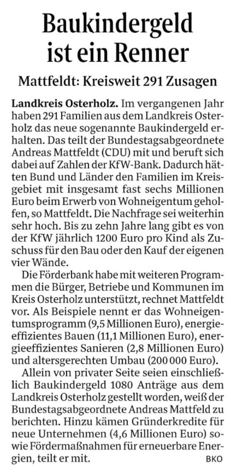 Baukindergeld für 291 Familien im Landkreis Osterholz