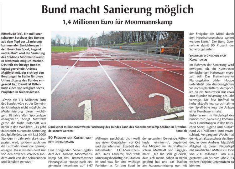 Millionen-Zuschuss für Sportplatz-Sanierung