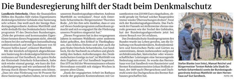 Berlin unterstützt Sanierung von Gut Sandbeck