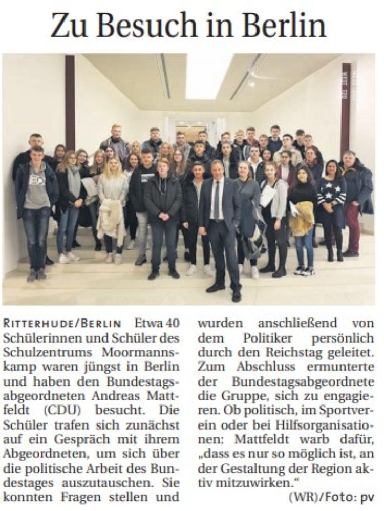 Moormannskamp-Schüler besuchen den Bundestag
