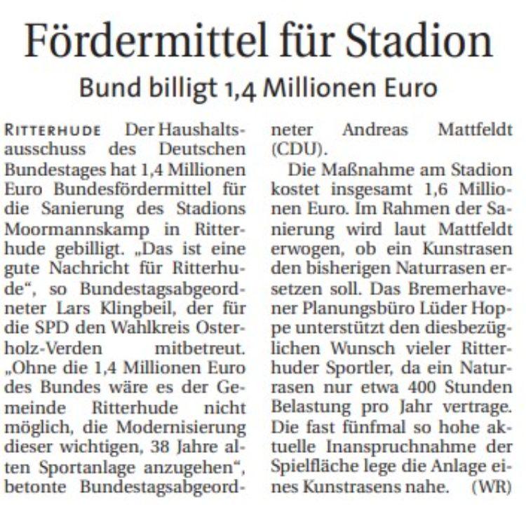 Bund hilft Ritterhude bei Stadionsanierung
