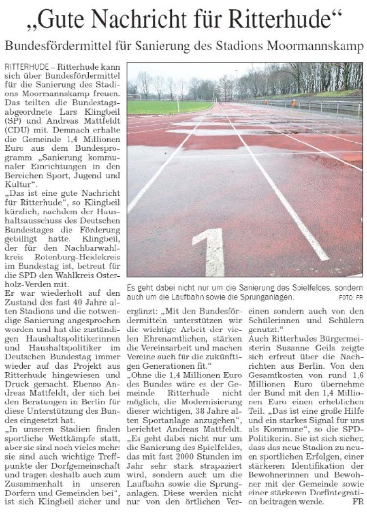 Bund gibt 1,4 Millionen für Sanierung Ritterhude Sportanlage