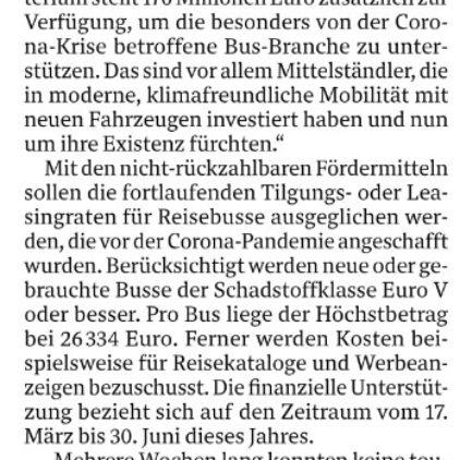 Bundeshilfe für Reisebus-Unternehmen