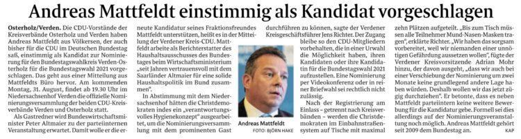 Mattfeldt soll den Wahlkreis weiter vertreten