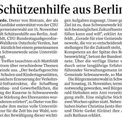 Unterstützung für Dieter von Bistram bei der Schwaneweder Bürgermeisterwahl