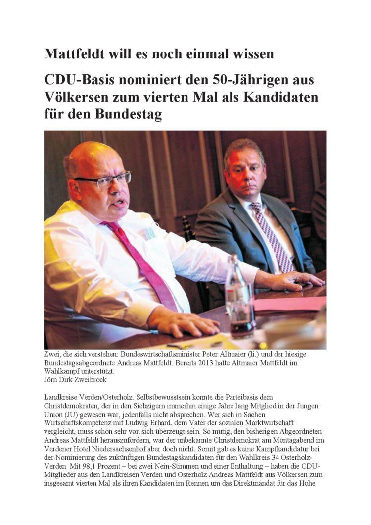 Mattfeldt erneut als Kandidat gewählt