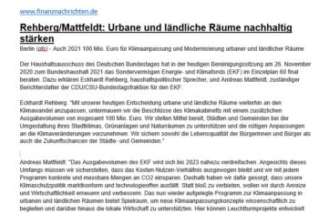 100 Millionen Euro für die Klimaanpassung