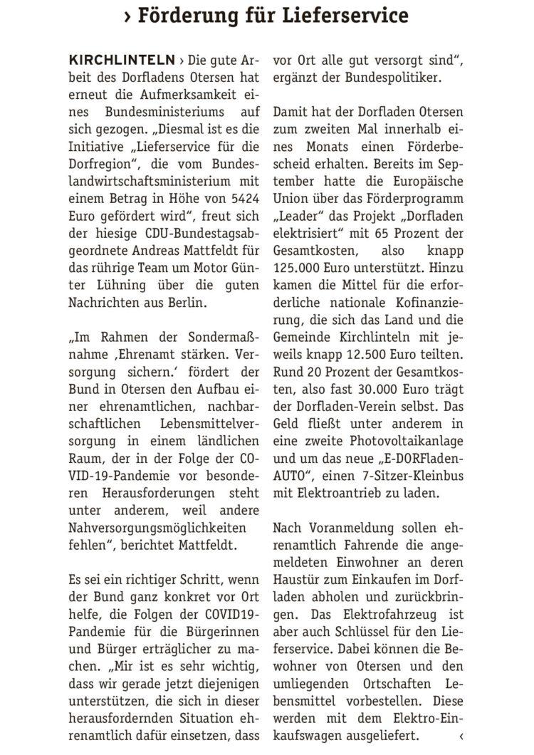 Bund unterstützt Dorfladen Otersen