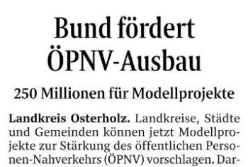 250 Millionen Euro vom Bund für ÖPNV-Modellprojekte