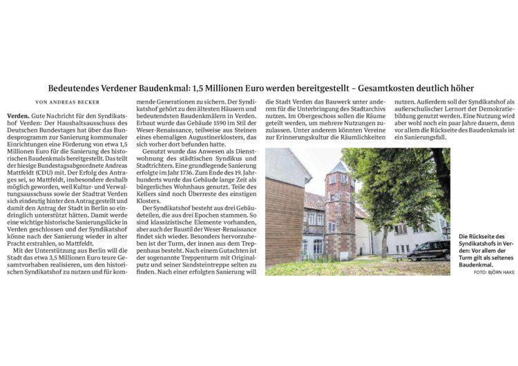 Bund fördert Sanierung des Syndikatshof