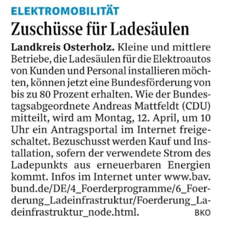 Bund fördert Ladesäulen-Infrastruktur