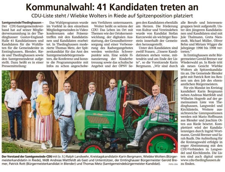 Mattfeldt unterstützt Thedinghauser CDU-Kandidaten