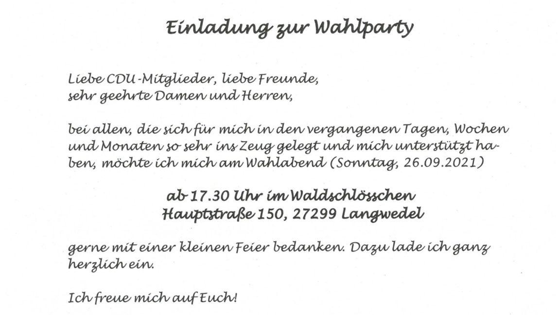 Wahlparty am 26.9.2021 im Waldschlösschen