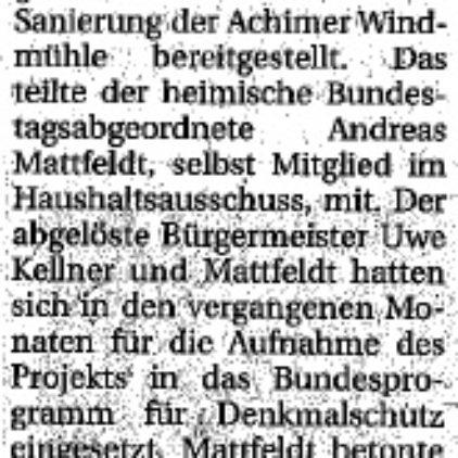 """""""35.000 Euro für Achimer Mühle"""""""