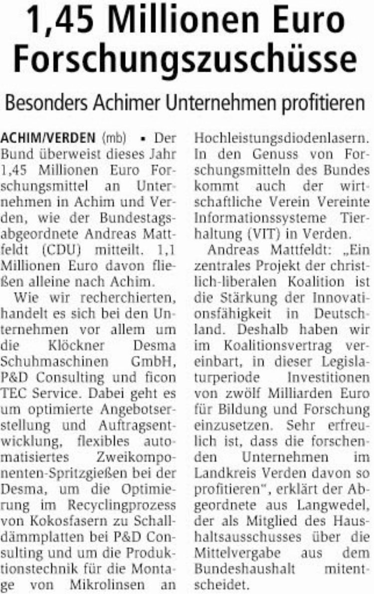 Landkreis Verden erhält 1,45 Mill. Euro Forschungsmittel