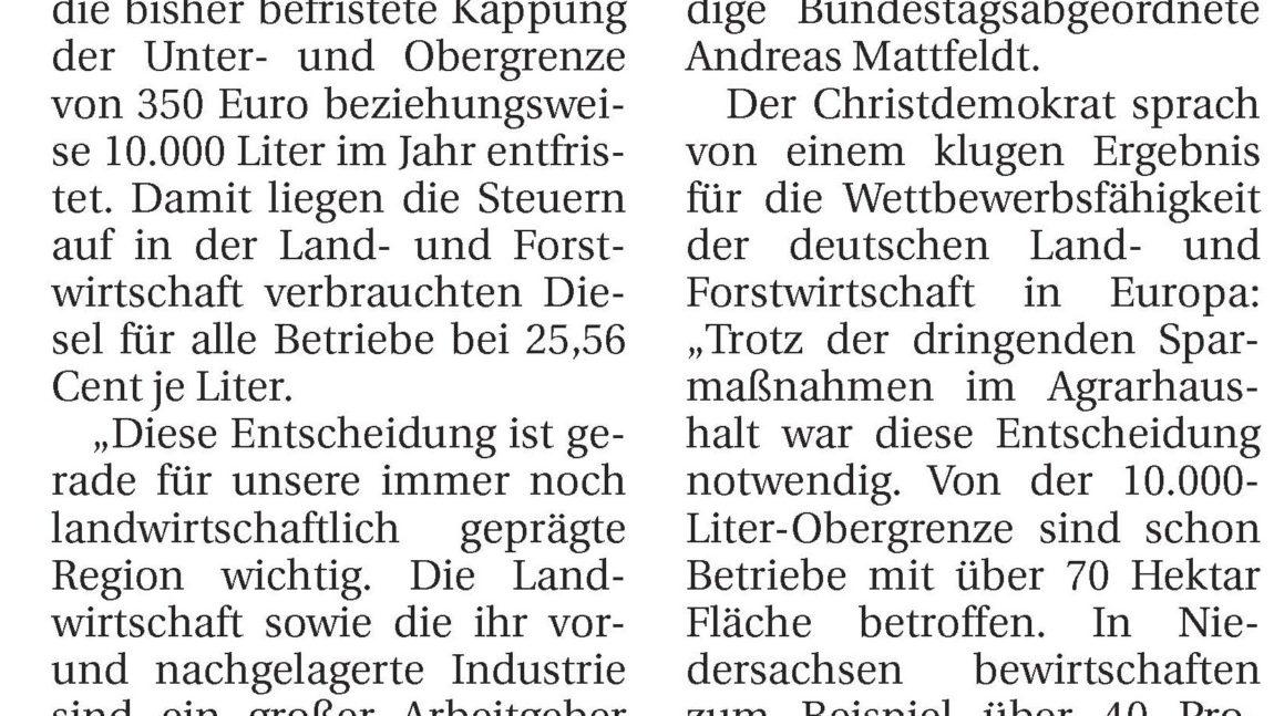 Mattfeldt hält Versprechen beim Agrardiesel – Region Verden profitiert