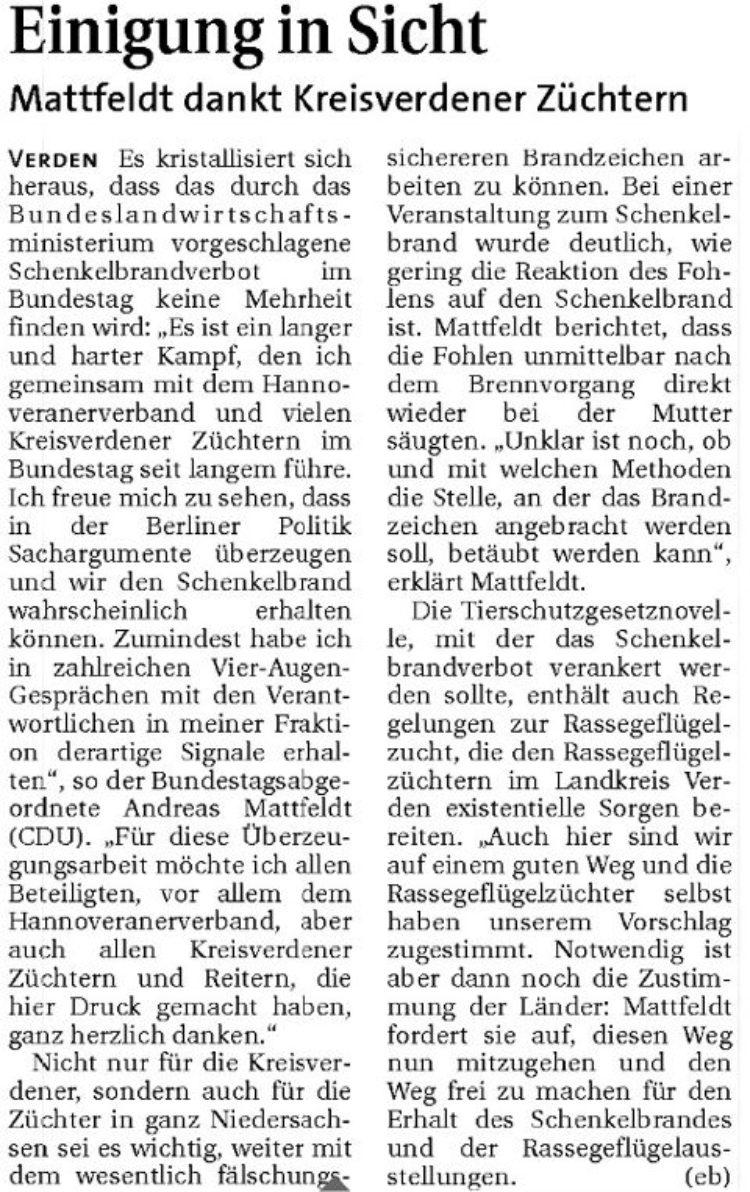 Einigung in Sicht – Mattfeldt dankt Kreisverdener Züchtern