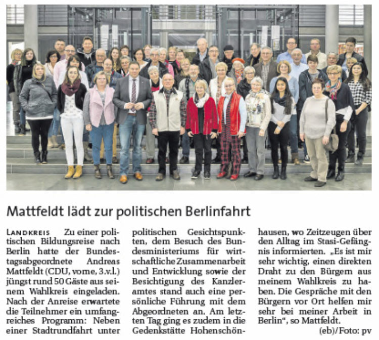 Mattfeldt lädt zur politischen Berlinfahrt