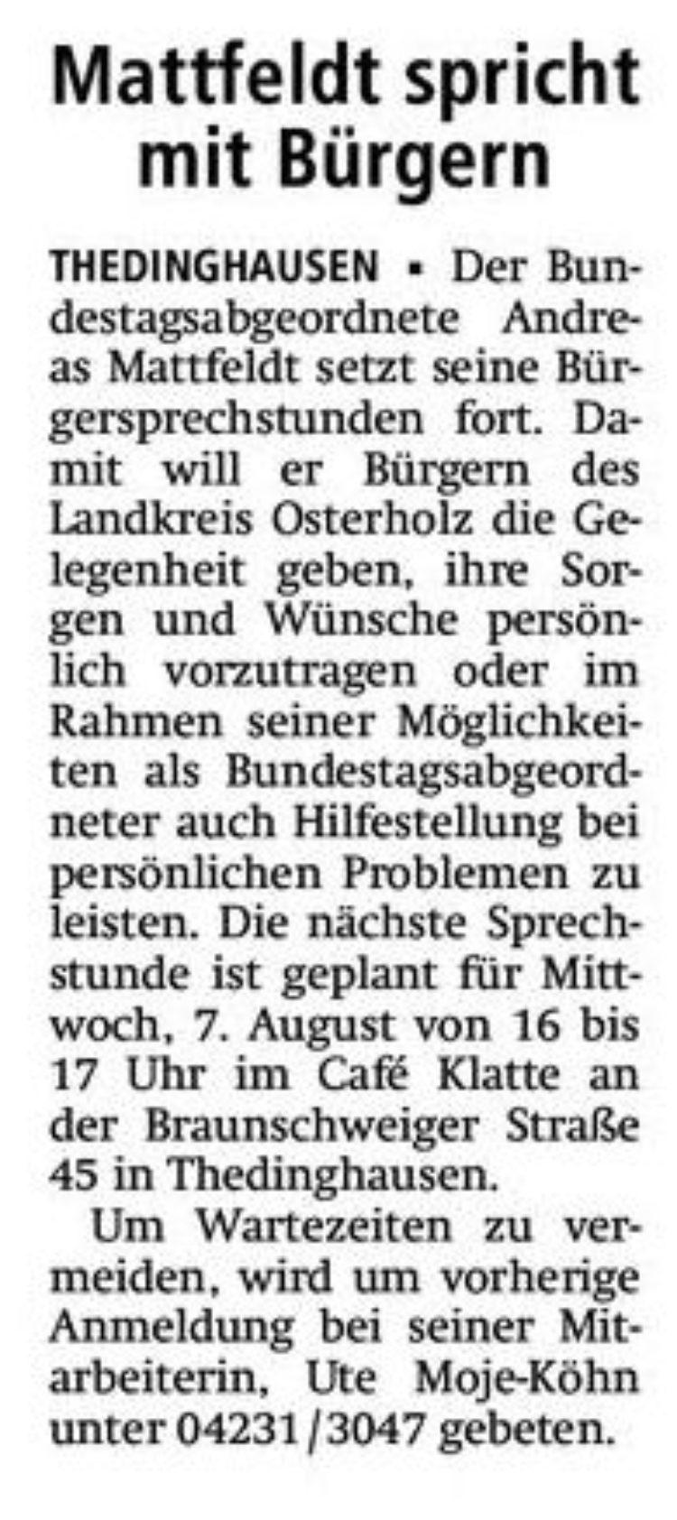 Bürgersprechstunde in Thedinghausen