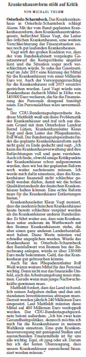 Die Norddeutsche 15 08 15 Krankenhausreform