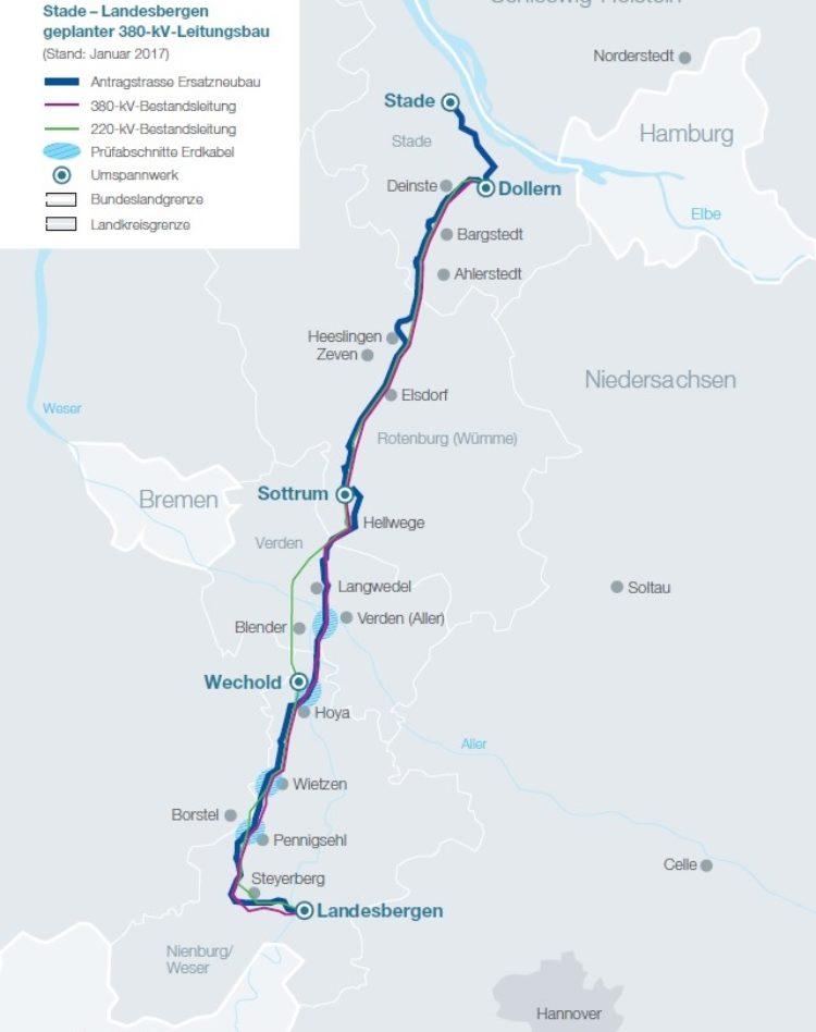 Deutliche Verbesserung bei Stade-Dollern-Landesbergen Stromleitung für den Landkreis Verden