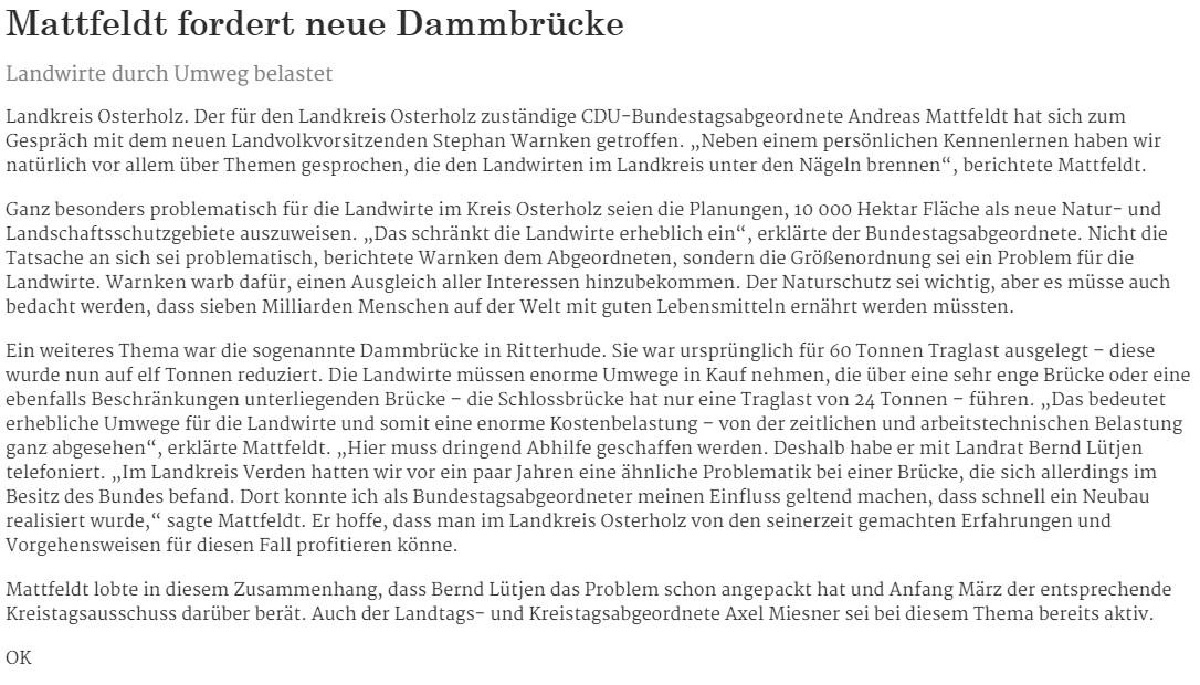 HP Die Norddeutsche 08.02.16 Mattfeldt neue Dammbrücke
