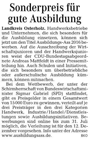 HP Wümme Zeitung 11.05 Mattfeldt Ausbildungs Ass