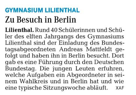HP Wümme Zeitung 21.03.16 Gym Lilienthal