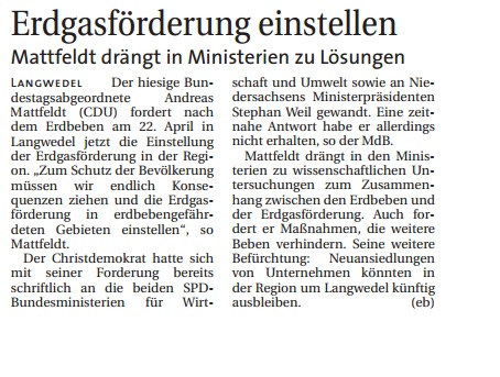 HP Weser Report 09.05. Mattfeldt Erdgasförderung