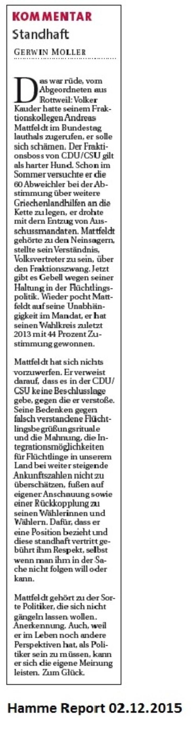 Kommentar im Hamme Report zu meiner Rede im Bundestag