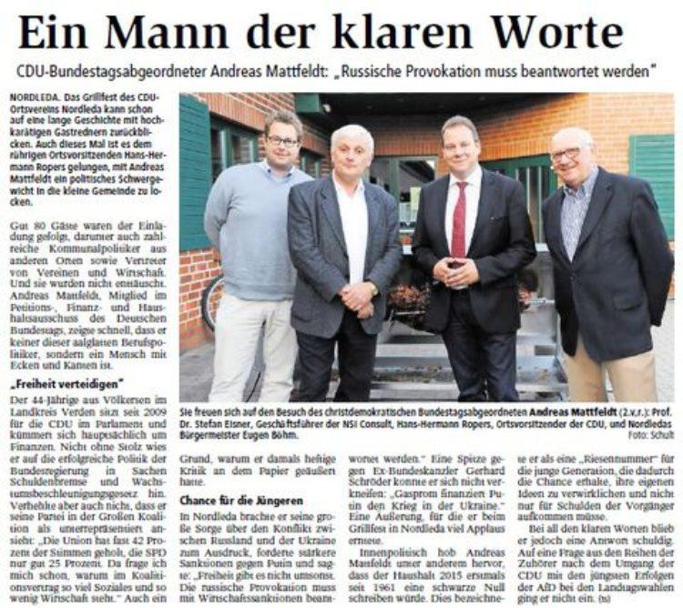 Niederelbe Zeitung vom 20.9.2014