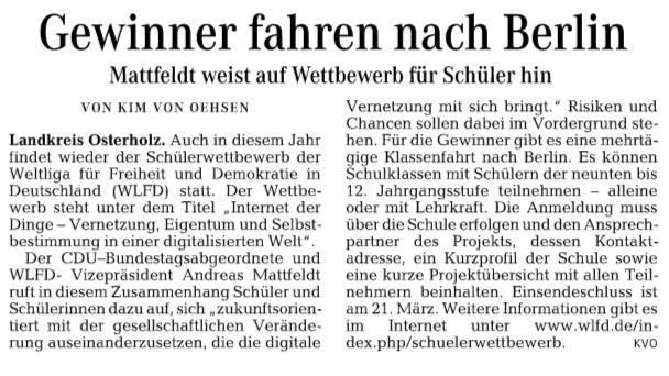 Osterholzer Kreisblatt 04.02.16 HP Schülerwettbewerb