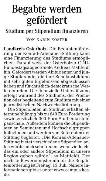 Osterholzer Kreisblatt 08.07.16 Mattfeldt Begabtenförderung KAS