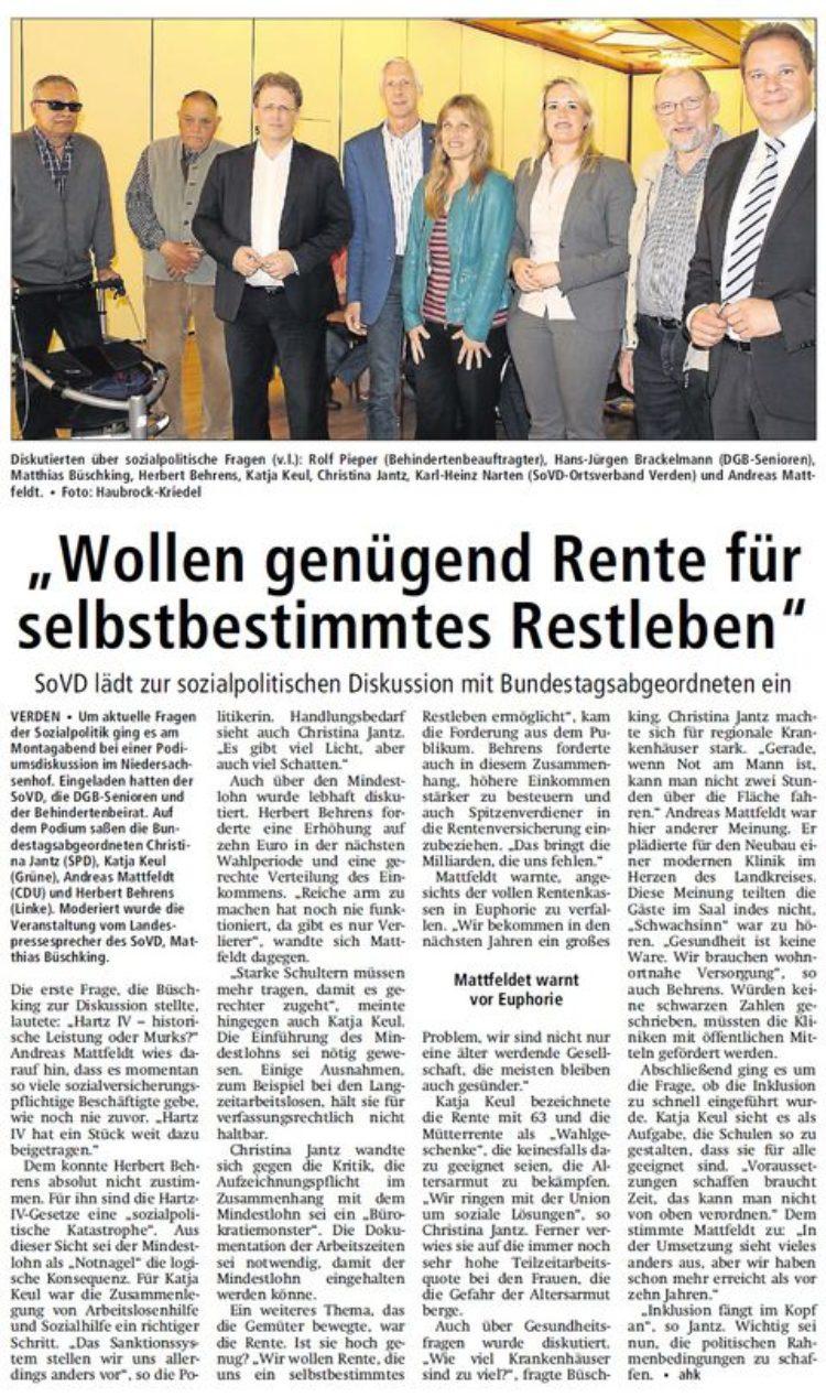 Kreiszeitung vom 13. Mai 2015