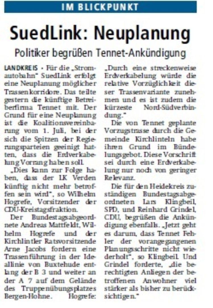 Kreiszeitung vom 29.07.2015