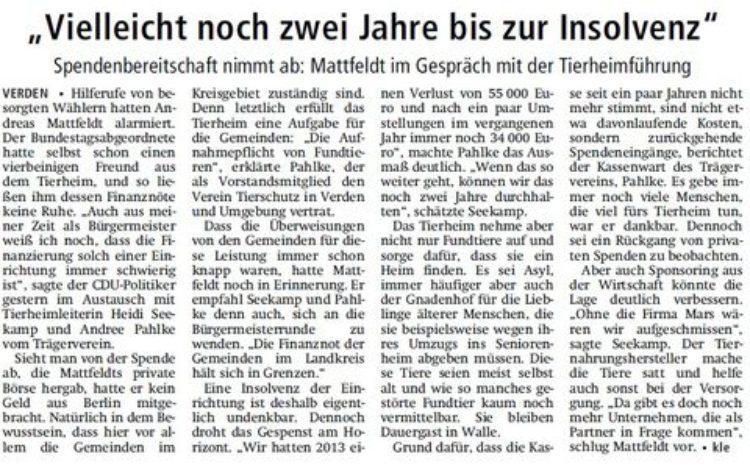 Kreiszeitung vom 13.05.2015