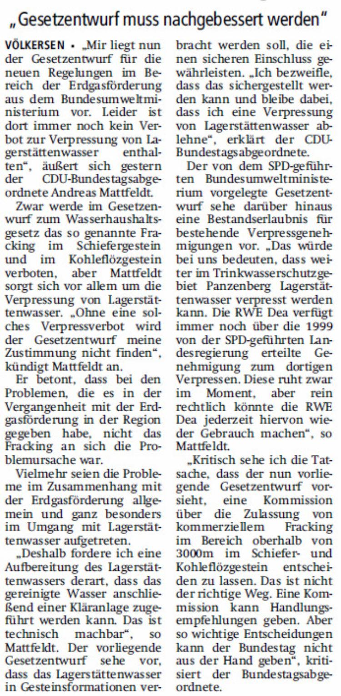 Mattfeldt: keine Zustimmung