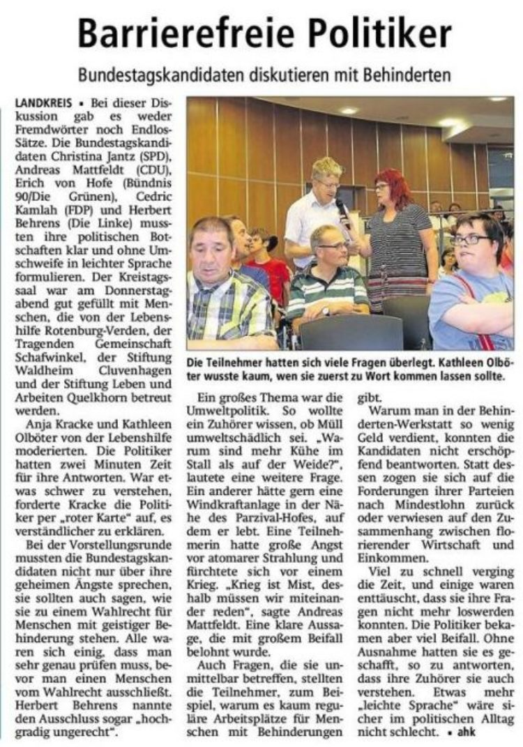 "Diskussion in ""leichter Sprache"""