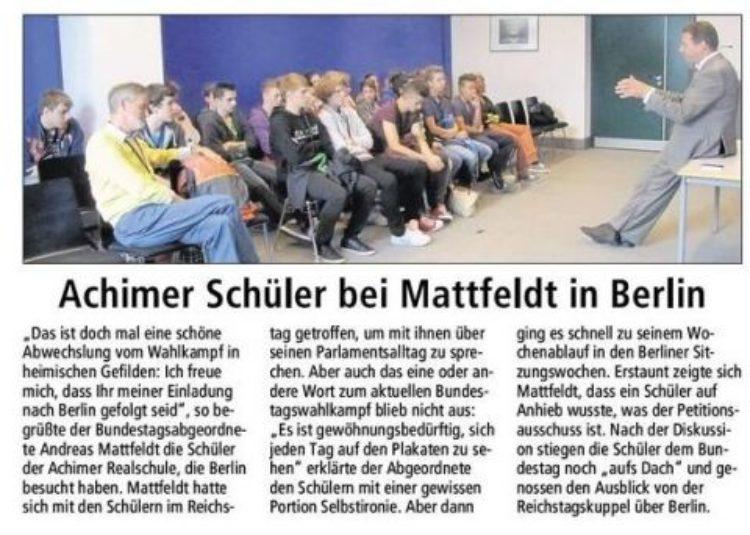 Schulklasse besucht Mattfeldt