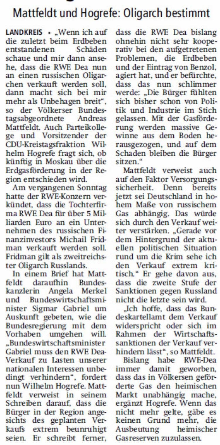 Verkauf von RWE Dea sorgt für Unruhe