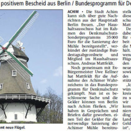 35000 Euro für die Achimer Mühle