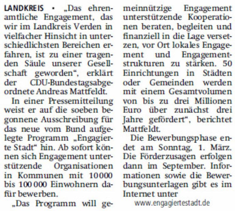 """Bewerbungsstart für """"Engagierte Stadt"""""""