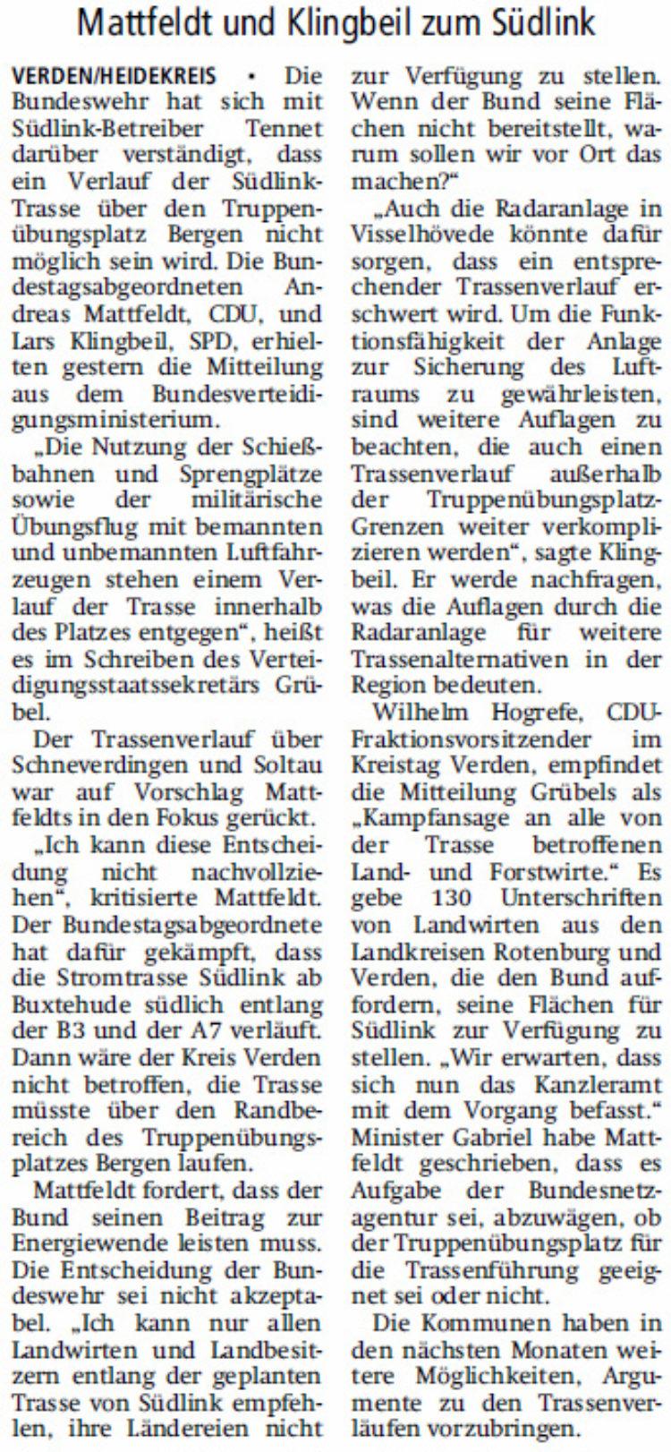 Bundeswehr will Trasse nicht