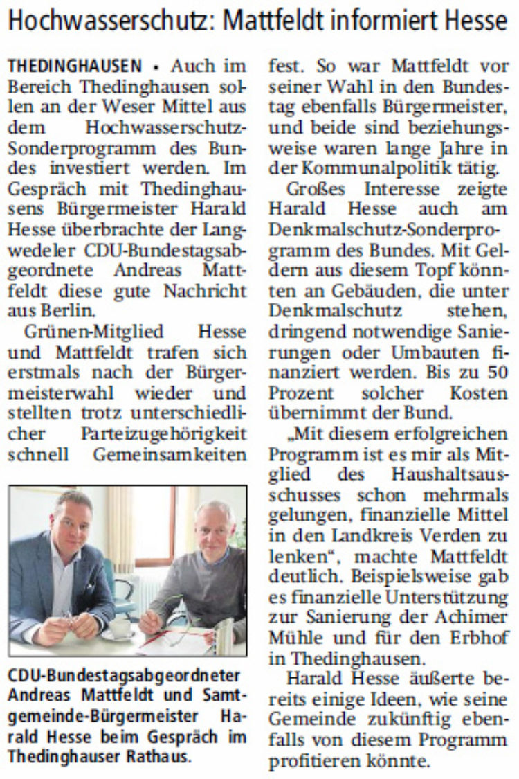 Geld vom Bund für Thedinghausen