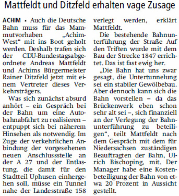 Achim-West: Bahn als Kostenträger mit dabei