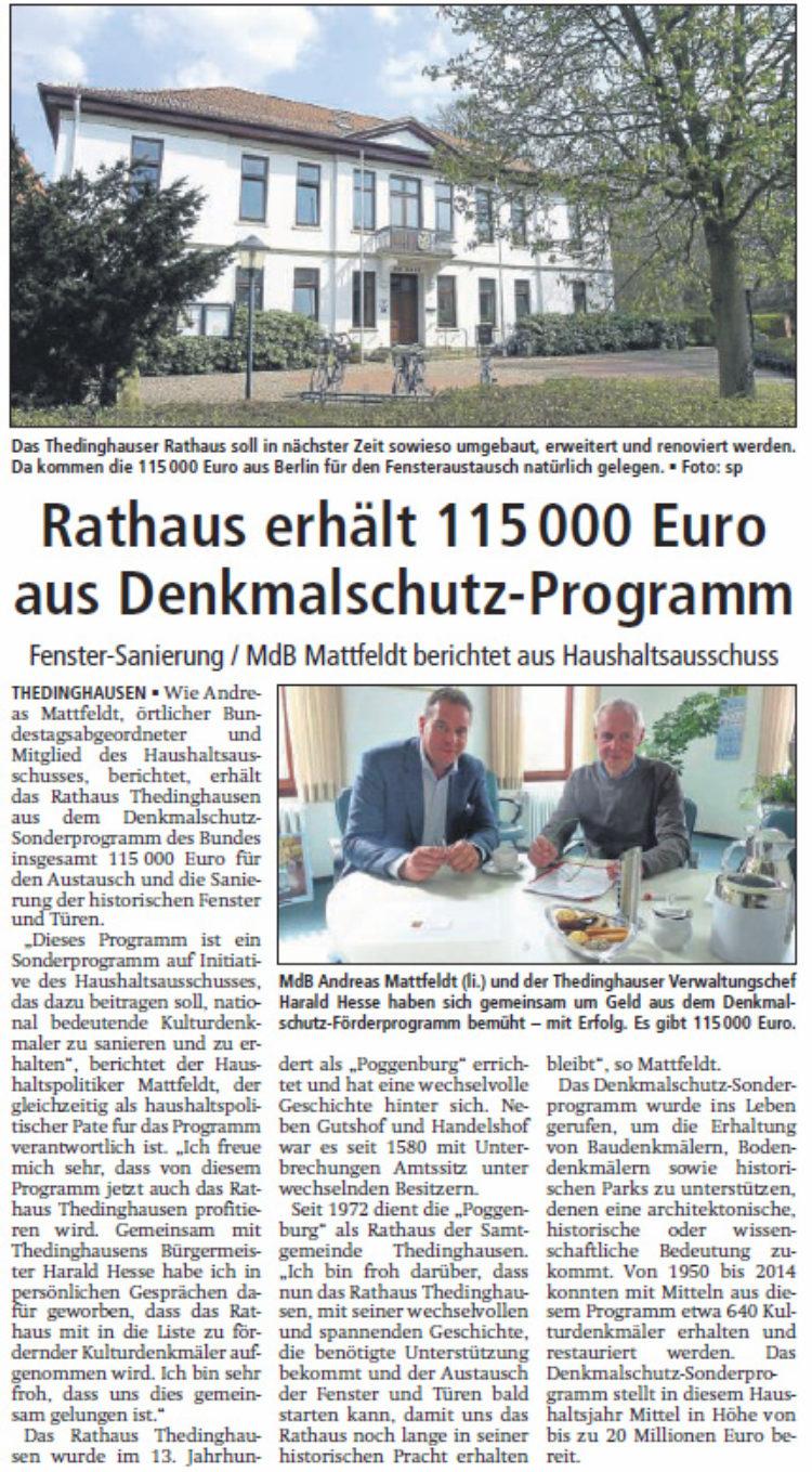 Förderung für das Thedinghauser Rathaus