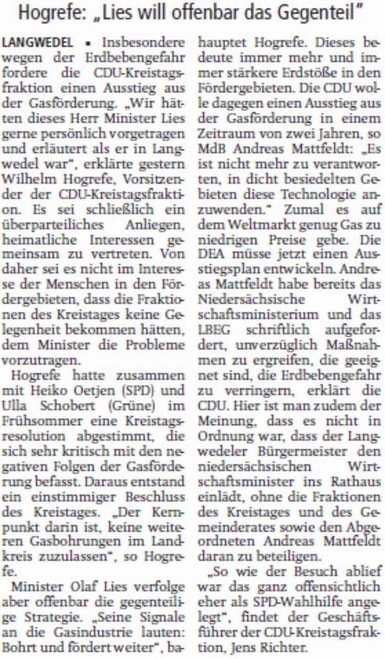 CDU: Ein Ende der Gasförderung