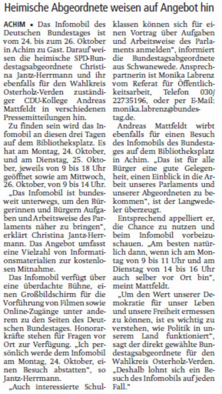 Infomobil des Bundestages in Achim