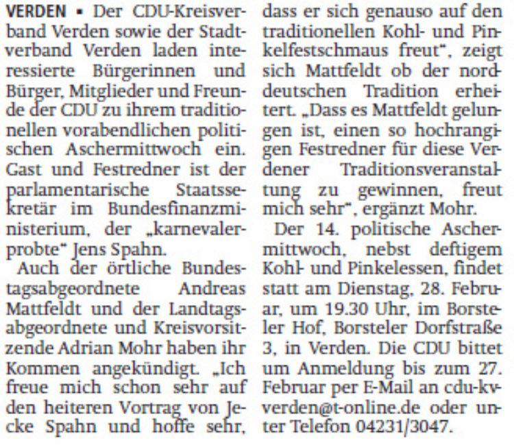 Jens Spahn Gast beim Kohlessen der CDU
